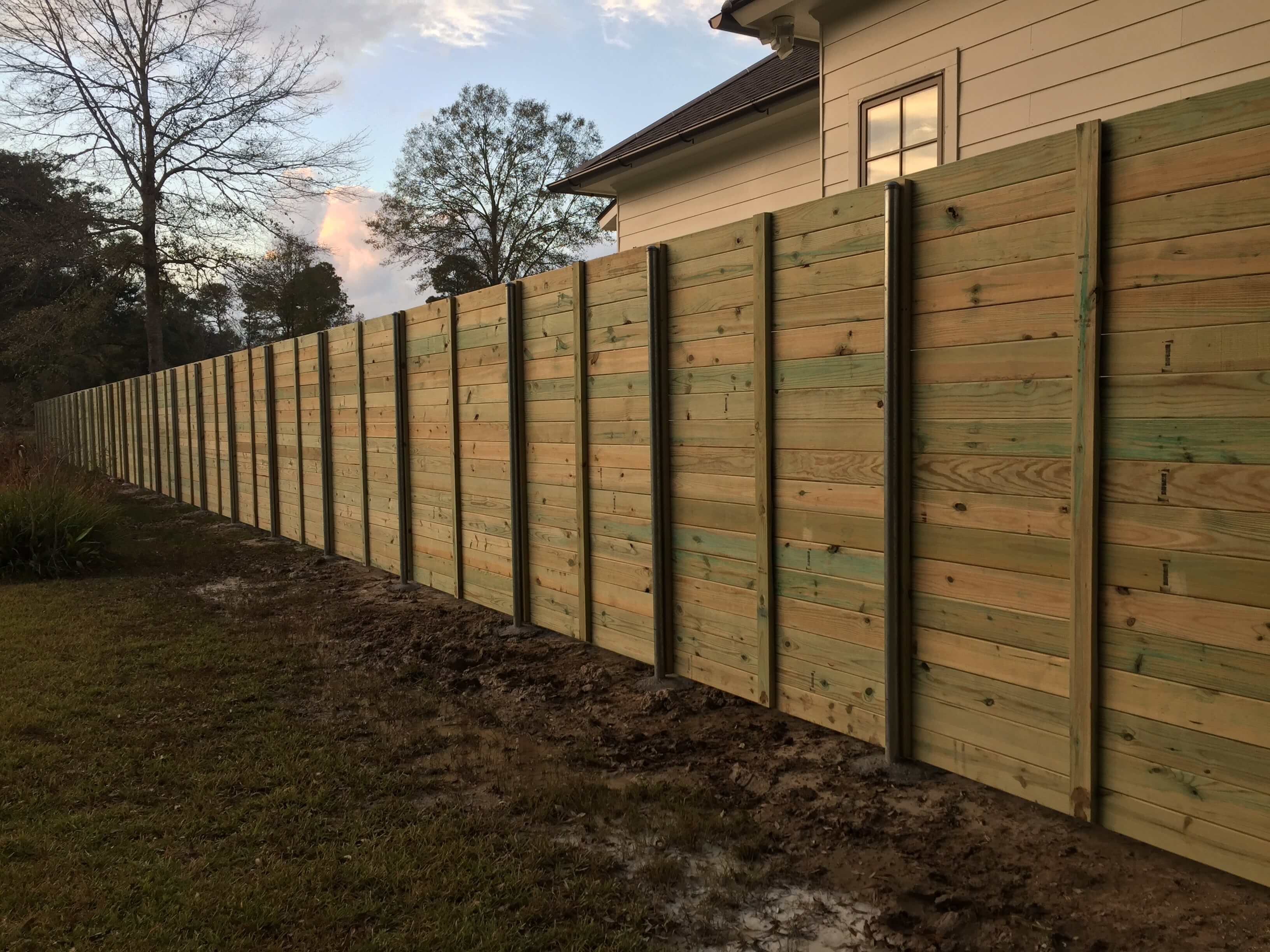 Horizontal Wood Fence with Steel Posts (back side)