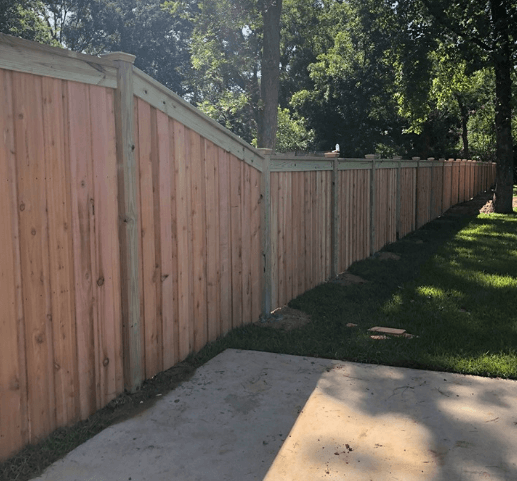 California Style Cedar Fence with Cap & Trim