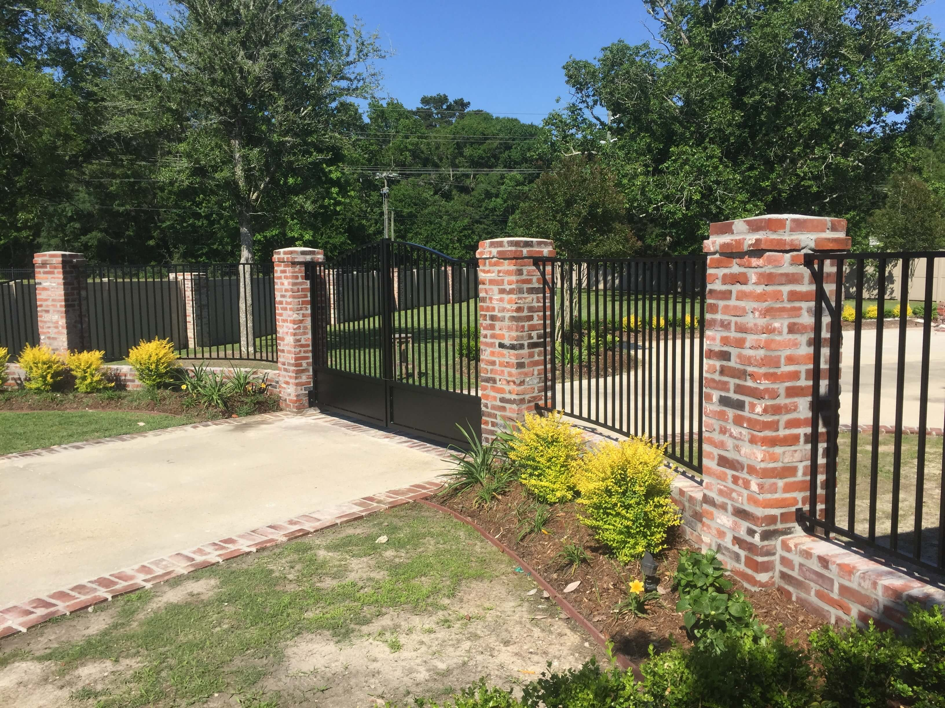 Brick Columns with Aluminum Fence and Gate
