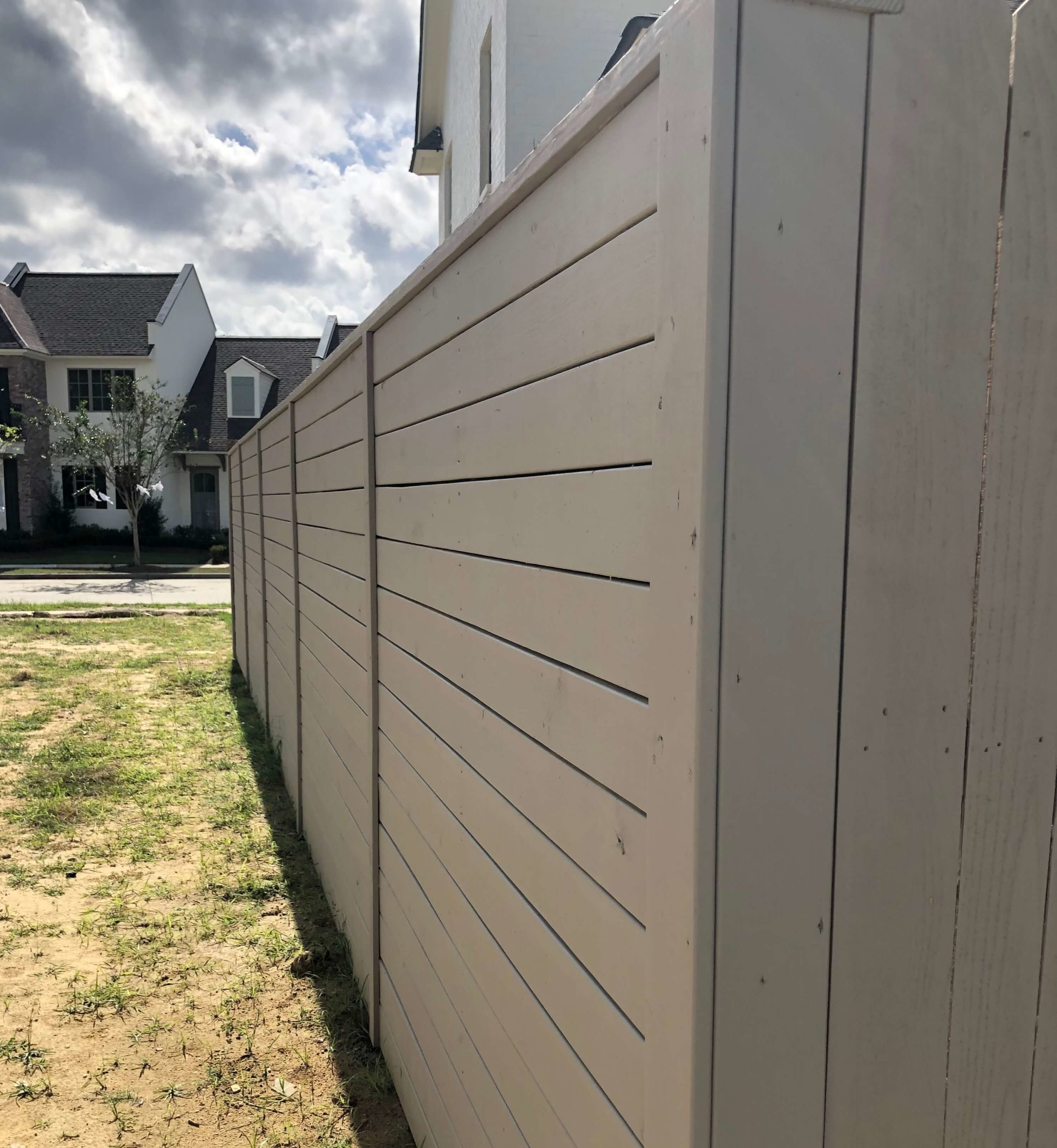 Custom Horizontal Wood Fence For Patterson Homes